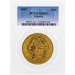 1907 $20 Liberty Head Double Eagle Gold Coin PCGS MS63+