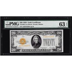 1928 $20 Gold Certificate Note PMG Choice Uncirculated 63EPQ