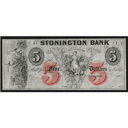 1800's $5 The Stonington Bank of Connecticut Obsolete Note