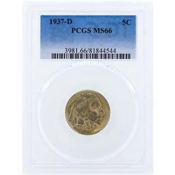 1937-D Buffalo Nickel Coin PCGS MS66