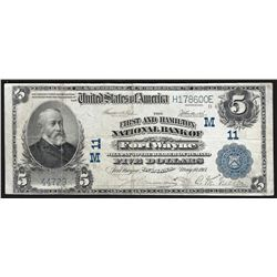 1902 $5 Fort Wayne Indiana National Currency Note CH# 11