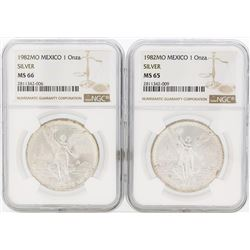 Lot of (2) 1982MO Mexico Libertad Silver Coins NGC MS65 & MS66