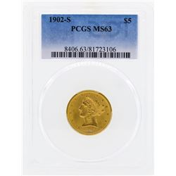 1902-S $5 Libertry Head Half Eagle Gold Coin PCGS MS63