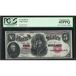 1907 $5 Legal Tender Woodchopper Note PCGS Extremely Fine 45PPQ