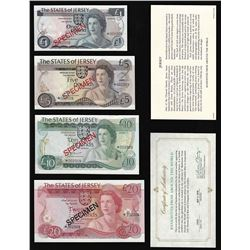 Set of (4) The States of Jersey Channel Islands Specimen Bank Notes