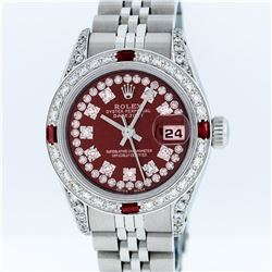 Rolex Ladies Stainless Steel Ruby and Diamond Datejust Wristwatch