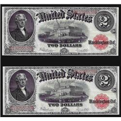 Lot of (2) Consecutive Serial Number 1917 $2 Legal Tender Notes