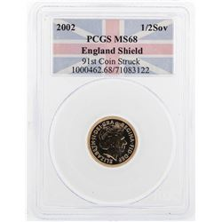 2002 1/2 Sovereign England Shield Gold Coin PCGS MS68