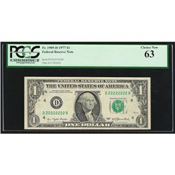 1977 $1 Federal Reserve Note Solid Serial Number PCGS Choice New 63
