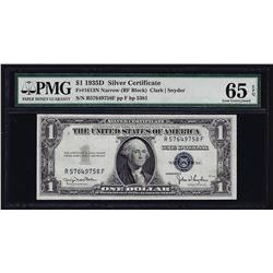 1935D $1 Silver Certificate Note Narrow PMG Gem Uncirculated 65EPQ