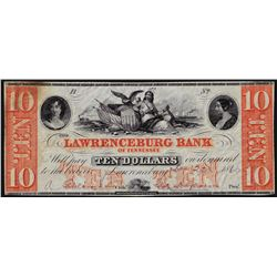 1860 $10 The Lawrenceburg Bank of Tennessee Obsolete Note
