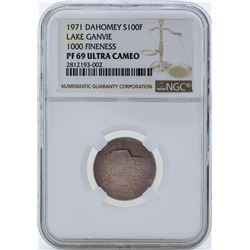 1971 Dahomey 100 Francs Proof Silver Coin NGC PF69 Ultra Cameo