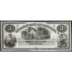 1800's $3 The Citizens Bank of Louisiana New Orleans Obsolete Note
