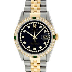 Rolex Men's Two Tone  14KT Yellow Gold Emerald and Diamond Datejust Wristwatch