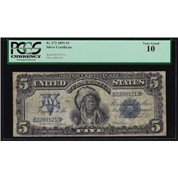 1899 $5 Indian Chief Silver Certificate Bank Note PCGS Very Good 10