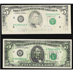 Lot of (2) $5 Federal Reserve ERROR Notes - Insufficient Inking & Full Offset