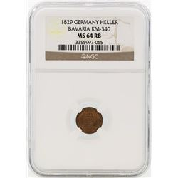 1829 Germany Heller Bavaria Coin NGC MS64RB