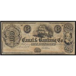 1800's $100 The Canal & Banking Co. New Orleans Obsolete Note