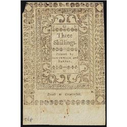 1786 Three Shillings Rhode Island Colonial Currency Note