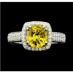 18KT White Gold 2.11ct Yellow Sapphire and Diamond Ring