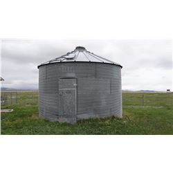 Steel grain bin, appx. 2000 bu., located 10 miles south of Hobson, to be removed by buyer before Jul