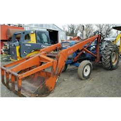 1966 Ford 5000 w/ DuAl grapple loader, diesel, 8 spd., 3 pt., 540 pto., 4827 hrs., w/ chains