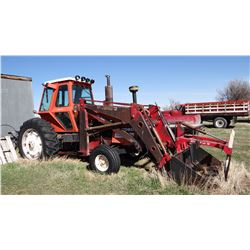 Allis-Chalmers 7020, Westendorf self-leveling loader, 7' bucket w/ grapple, duals, 540 pto, 3 hyd.,