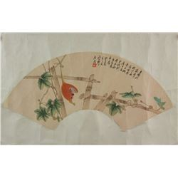 Ju Lian 1828-1904 Watercolour on Fan Pape Roll