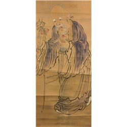 Longevity Deity Chinese Watercolour on Paper Roll