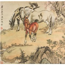Ma Jin 1900-1970 Chinese Watercolour Paper Roll
