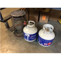 PAIR OF PROPANE TANKS & HEATER