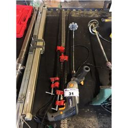 PAIR OF PIPE CLAMPS & MASTERCRAFT DRILL WITH MIXER ATTACHMENT