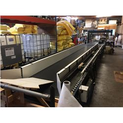 VERSA ELECTRIC MOTORIZED ROLLER CONVEYOR SYSTEM WITH RUBBER MATTING & WIDTH ADJUSTING FEEDER