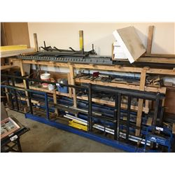 HANGING CONVEYOR, STEEL RACKS & CONTENTS OF WOODEN BENCH