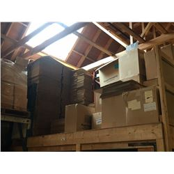 CONTENTS OF MEZZAININE END INCLUDING CARDBOARD BOXES & INJECTION TUBES
