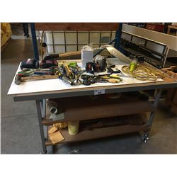 METAL MOBILE WORK TABLE & CONTENTS