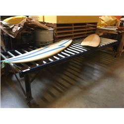 APPROX 11 X 3 FT MOBLE ROLLING CONVEYOR SECTION