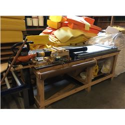WOODEN WORK TABLE WITH WORX BLOWER/VAC & CONVEYOR SECTION