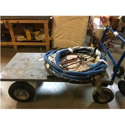 GREY METAL MOBILE CART WITH ASSORTED HOSE