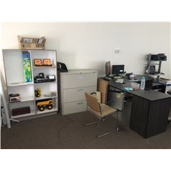 REMAINING CONTENTS OF OFFICE INCLUDING: 3 DESKS, CHAIRS, BOARDROOM TABLE, FILE CABINET & SHELVES