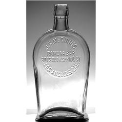 Ramona Bar, J.K. McGinnis Clear Whiskey Flask (Los Angeles, California)