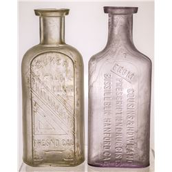 Two California Drug Store Bottles (Fresno and Hanford, California)