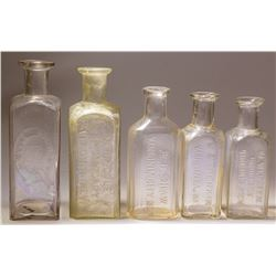 Five Comstock Drug Store Bottles: Cole, Shaw, Webster, and Perkins (Virginia City, Nevada)