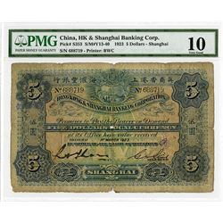 """Hong Kong & Shanghai Banking Corp. (HSBC) with US Navy """"U.S.S. Black Hawk"""" Handstamp, 1923, Issued B"""