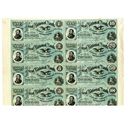 Eastman Business College, ND (ca.1860's) Uncut Sheet of 8 Different College Currency Notes.