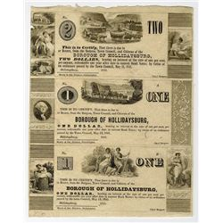 Borough of Hollidaysburg, May 13, 1841 Obsolete Scrip Note Uncut Sheet of 3.