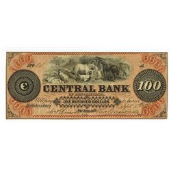 Central Bank of Pennsylvania, 1858 Issued Obsolete Banknote.