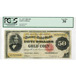 U.S. Gold Certificate, $50, Series of 1882, Small Red Seal, Fr#1197 Issued Banknote.