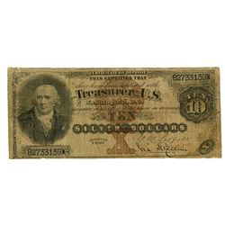 U.S. Silver Certificate, $10, Series of 1880, Large Brown Seal,  Black Back , Fr#287 Issued Banknote