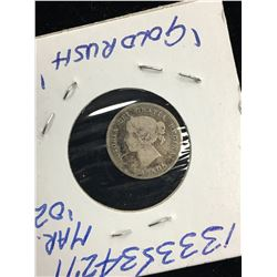 1874H CANADA 5 CENTS!LARGE DATE COSSLET 4!VG-8